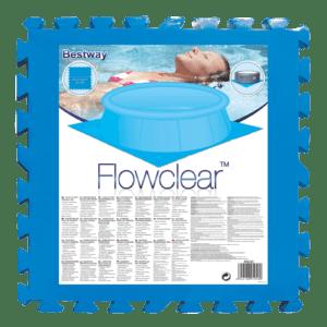 2. frame pool 300 x 200 x 75 cm + 4x ondervloer tegels + zwembad afdekzeil