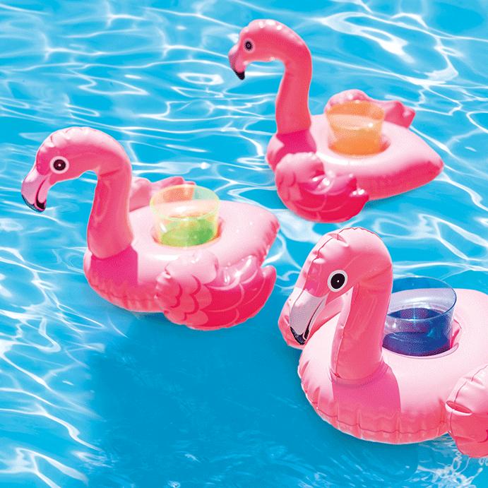 Opblaas flamingo bekerhouders – 3 stuks