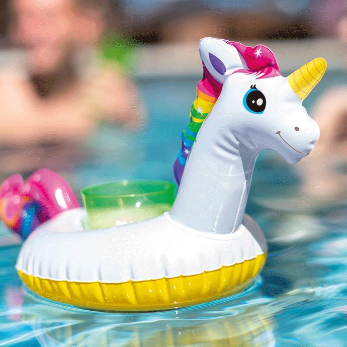 Opblaas bekerhouder unicorn – 3 stuks