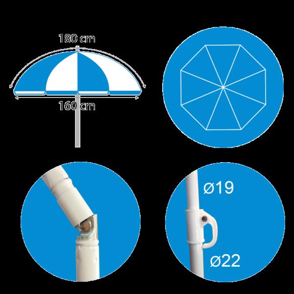 parasol basic 180cm