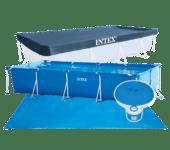2. frame pool 450 x 220 x 84 cm + ondervloer zeil + zwembad afdekzeil